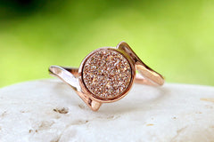 Rose Gold ring,Quartz Ring,Druzy Ring,Rose Gold,Agate Ring,Geode Ring,Gold Ring,Stacking ring,Drusy ring,Delicate ring,unique,silver