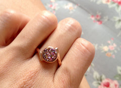 Peacock,Rose Gold,Quartz Ring,Druzy Ring,Rose Gold,Agate Ring,Geode Ring,Gold Ring,Stacking ring,Drusy ring,stone Collection,New Trend