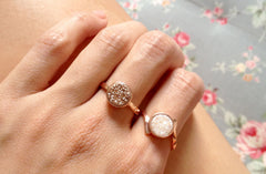 Druzy,Rose Gold ring,Quartz Ring,Druzy Ring,Agate Ring,Geode Ring,Stacking ring