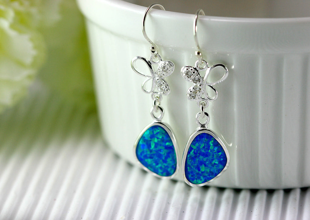 Butterfly,Blue Opal Earrings,Geode Earrings,Gemstone Earring,Agate Earring,October Birthstone,Stone earring,Opal,stone,earrings,delicate