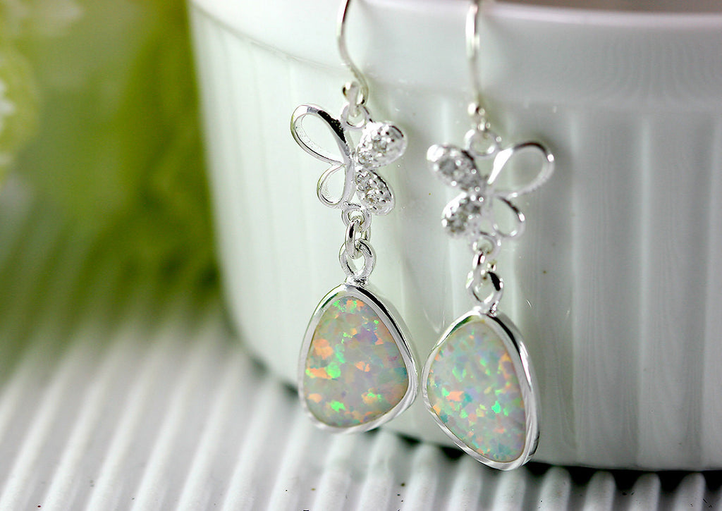 White Opal Earrings,Geode Earrings,Gemstone Earring,Agate Earring