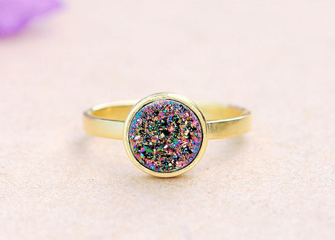 Peacock Ring,Druzy Ring,Crystal Ring,Cocktail Ring,Geode Ring,Gold Ring,Stone Ring,Peacock Jewelry,Sterling silver,Stacking ring,delicate