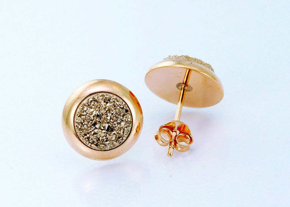 gold posts silver rose hypoallergenic stud img products acfe druzy earrings on