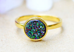 18k gold,Druzy Ring,Rainbow druzy Ring,Peacock Ring,Geode Ring,Gold Ring,stone Ring,Gemstone,Sterling silver,Stacking ring,Delicate ring