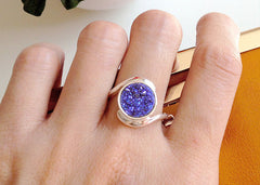 Quartz Ring,Druzy Ring,Geode Ring,Stone Ring,Cocktail Ring,Stacking ring,drusy ring,gemstone ring,silver,stacking,unique,sparkle ring