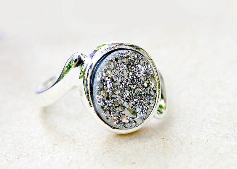 Geode Ring,Quartz jewelry,Druzy Ring,Quartz,Stone Ring,Drusy ring,Gemstone ring,stone,druzy,silver,sparkle,statement ring,quartz,geode