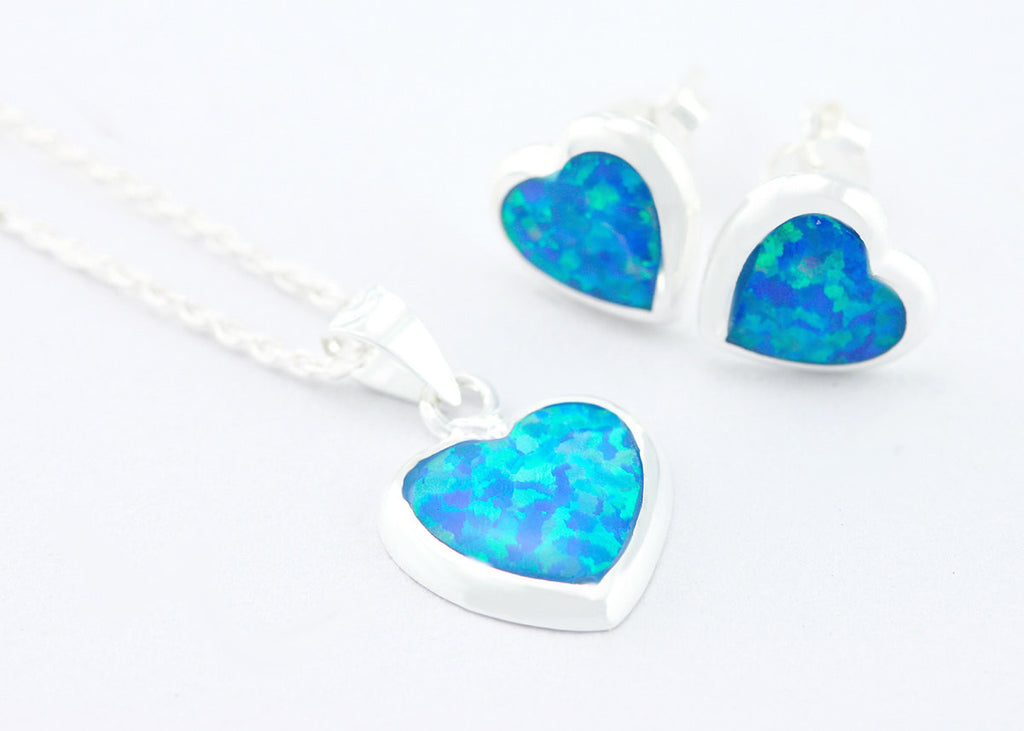 Opal Earrings,Opal Necklace,Heart,Earrings,Heart necklace,Agate earrings,Agate Necklace,Necklace,Silver,Opal,Silver,October,Brithstone