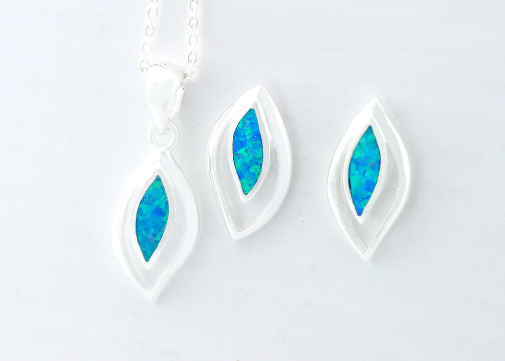 Opal Jewelry Set,Opal Earrings,Opal Necklace,october birthstone,Stud earrings,925 Sterling Silver