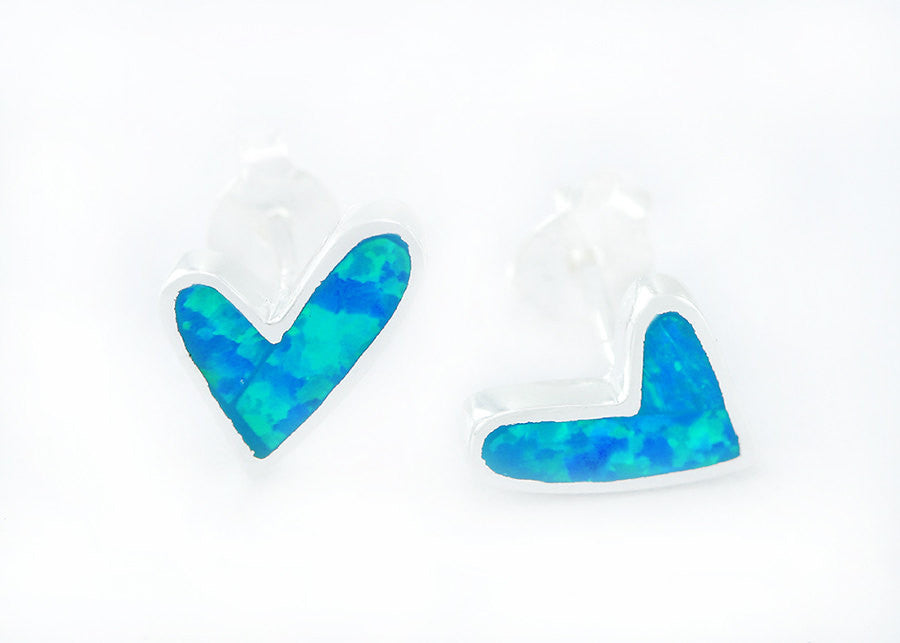 0041_OPEW,Opal Earrings,Heart Earrings,Gemstone earrings,Agate earrings,Stone earrings,opal,stone,agate,gemstone,stud,earring,stone earrings,silver