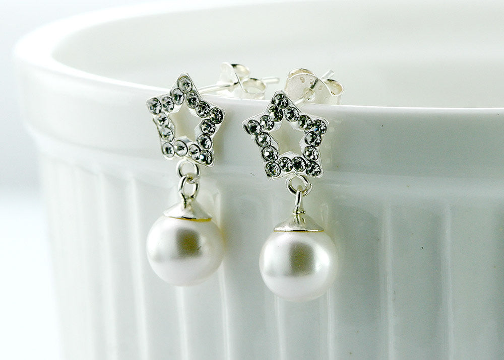Crystal earrings,pearl,silver,lovely,chic,cute,cubic zirconia,delicate,silver earrings,jewerly set,gifts idea