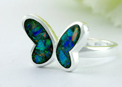 Butterfly,Opal Ring,Geode ring,October,Birthstone,gemstone ring,Agate ring,delicate ring,stone,gedoe,agate,silver,opal,dainty,butterfly
