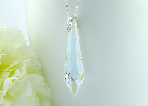 Crystal Swarovski Necklace,Crystal Necklace,Gemstone Necklace,Swarovski Helix Pendant,Crystal AB