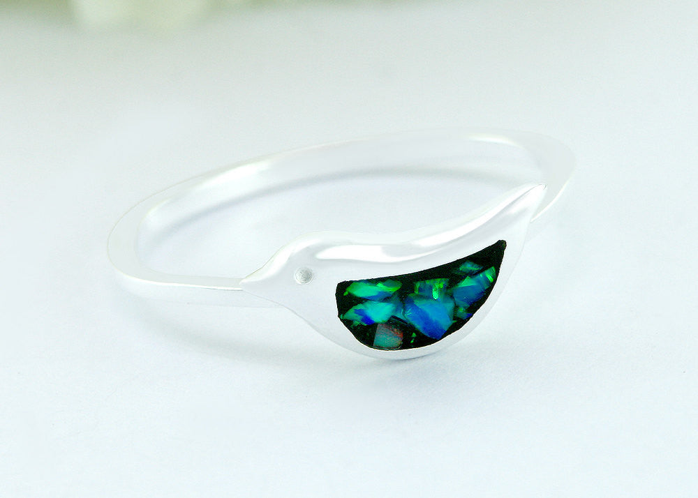 0127_OPRBG,Bird,Opal Ring,Geode ring,October,Birthstone,gemstone ring,Agate ring,delicate ring,stone,agate,silver,opal,dainty,animal,lucky,freedom