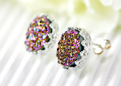 Druzy Earrings,Crown,Stud Earrings,Geode,Gemstone earrings,bridesmaid gift,Quartz Earrings,