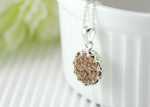 Rose Gold,Druzy Necklace,Crown,Agate Necklace,Geode Necklace,Gemstone Necklace,Silver,Stone,drusy,druzy,necklace,quartz,gifts
