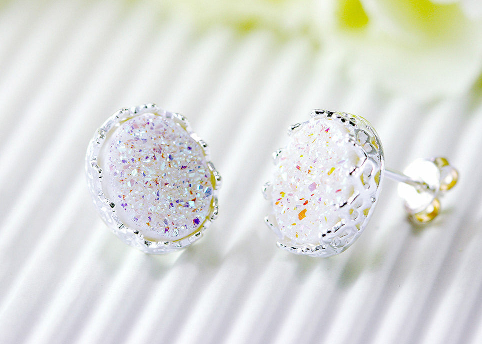 Druzy Earrings,Crown,Stud Earrings,Geode,Gemstone earrings,bridesmaid gift,Quartz Earrings,Stone,Birthday Gifts,Gifts idea,Quartz,silver
