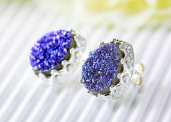 Sparkle,Druzy Earrings,Crown,Stud Earrings,Geode,Gemstone earrings,bridesmaid gift,Quartz Earrings,Quartz Necklace,Druzy Necklace,Trending