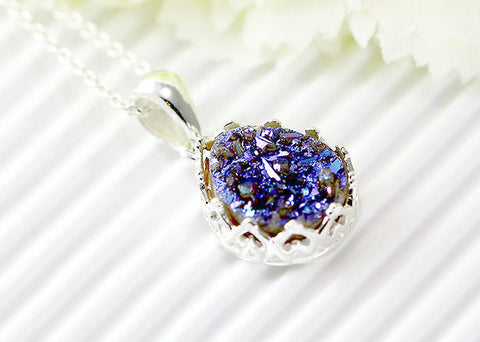 Druzy Necklace,Crown,Princess,Bridesmaid,Agate Necklace,Geode Necklace,Gemstone Necklace,Trending,Bridesmaid,June gifts,Summer gift