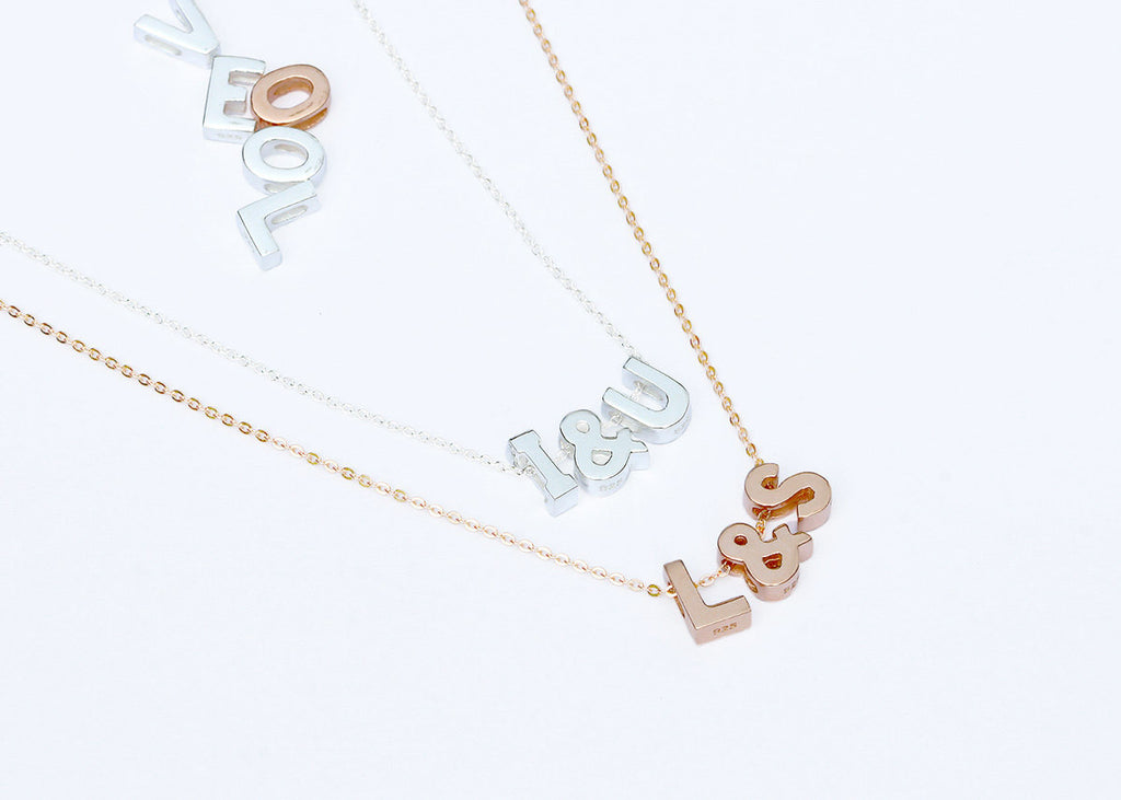 Personalized,Sterling silver,Love necklace,Initial Necklace,Personalized necklace,Letter necklace,Silver necklace,Rose gold,Initial Jewelry