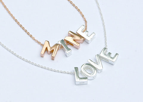 Sterling silver,Love necklace,Initial Necklace,Personalized necklace,Letter necklace,Silver necklace,Rose gold,Initial J