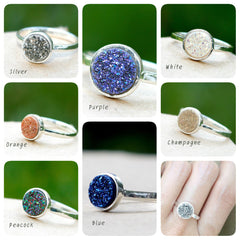 Druzy Ring,Crystal Ring,Quartz Ring,Drusy Ring,Simple Ring,Geode Ring,Stone Ring,Stacking ring,Gemstone Ring,CIJ,August Finds