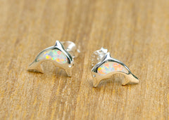 Whale Earrings,Opal Earrings,Silver Earrings,Gemstone earrings,Agate earrings,Stone earrings,opal,stone,agate,gemstone,stud earrings