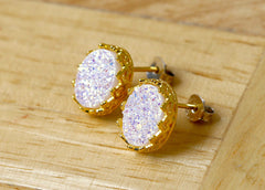 Bridesmaid gifts,Gold,Gold earrings,Stud Earrings,Geode Earrings,Druzy Earrings,Drusy Earrings,Gemstone,Silver stud,Agate Earring