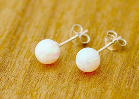 Opal Earrings,Opal Stud,Stone Stud,Tiny Earrings,October birthstone