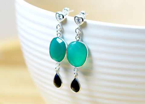 Green Onyx Earrings,Sapphire Earrings,Gemstone Earrings,Agate Earrings,September Birthday,Mom gift,Silver earrings,Green earrings,bridesmaid