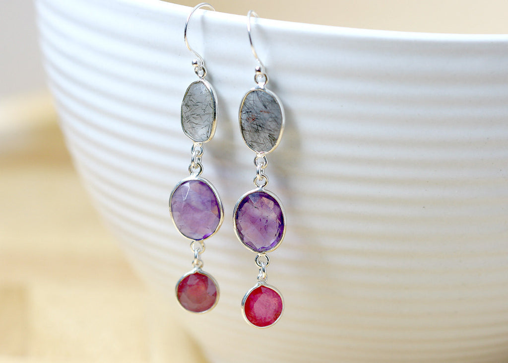 Amethyst Earrings,Ruby Earrings,Gemstone Earrings,Agate Earrings,Silver rutilated quartz,Mom gift,Silver earrings,Green earrings,bridesmaid