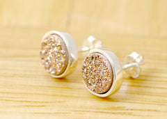 Stone Stud,Druzy Earrings,Stud Earrings,Geode Earrings,Drusy stud,Druzy stud,Gemstone earrings,bridesmaid gift,Agate Earrings