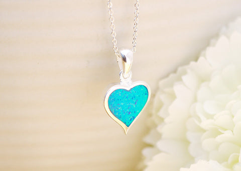 0074_OPNB,Heart Pendant,Blue Opal Necklace,Opal Necklace,Blue opal pendant,925 sterling silver,Silver necklace,Birthstone jewelry