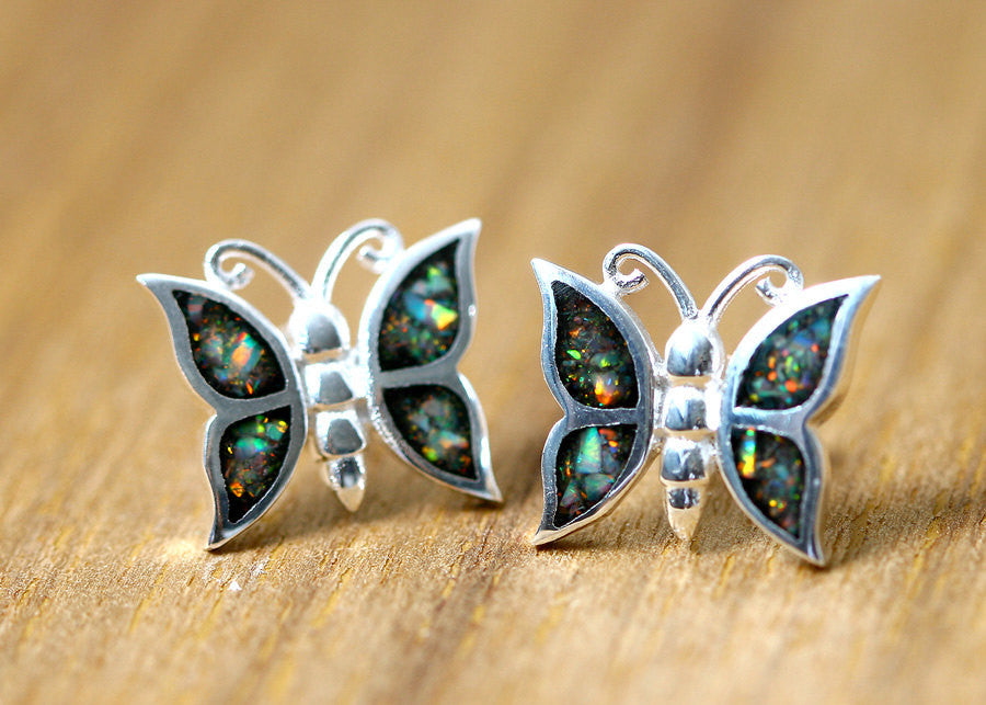 Butterfly,Opal Earrings,Silver Earrings,Gemstone earrings,Agate earrings,Stone earrings,opal,stone,agate,gemstone,stud,earring,silver