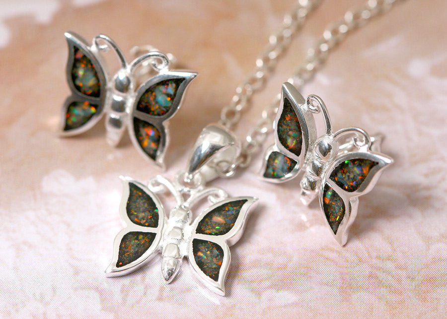 Butterfly,Opal Necklace,Silver Earrings,Gemstone Necklace,Agate Earrings,Stone Necklace,opal,stone,agate,gemstone,stud,earring,silver