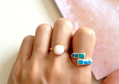 Adjustable RIng,Stone ring,Opal Ring,Geode ring,October Birthstone,Birthstone Ring,gemstone ring,Agate ring,Mother Ring