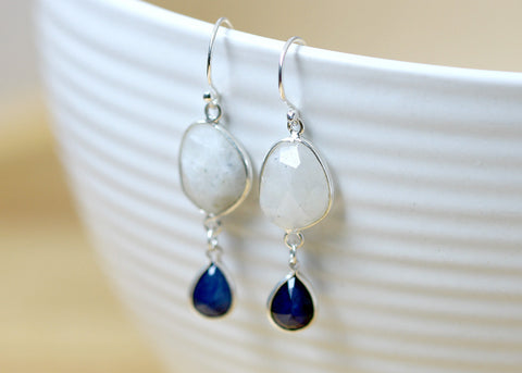 Moonstone Earrings,Ruby Earrings,Gemstone Earrings,Agate Earrings,Moonstone quartz,Mom gift,Silver earrings,Bridal earrings