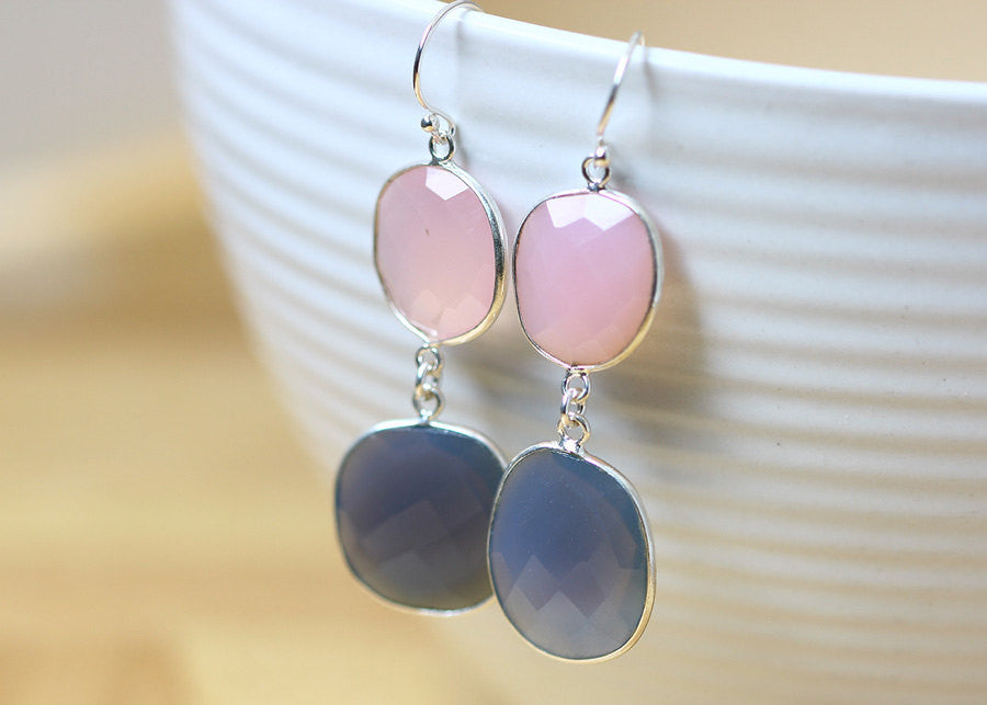 Bridsmaids earrings,Amethyst Earrings,Rose quartz Earrings,Gemstone Earrings,Agate Earrings,February,Mom jewelry,Silver earrings