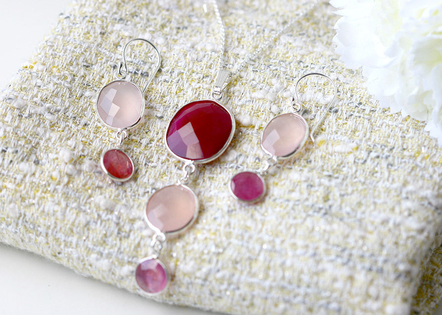 Bridesmaids Gift,Ruby Necklace,Rose quartz Earrings,Gemstone Pendant,Agate Necklace,Mom jewelry,Jewelry Set,Bridal jewelry