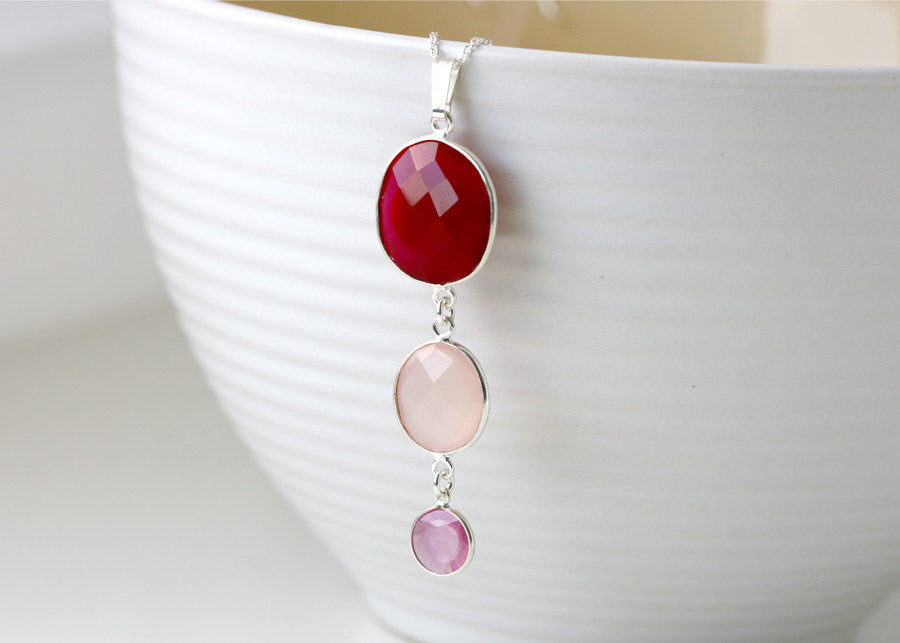 Bridesmaids Necklace,Ruby Necklace,Rose quartz Pendant,Gemstone Pendant,Agate Necklace,Mom jewelry,Silver Pendant