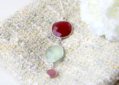 Bridesmaids Gift,Ruby Necklace,Chalcedony quartz Earrings,Gemstone Pendant,Agate Necklace,Mom jewelry,Jewelry Set,Bridal jewelry