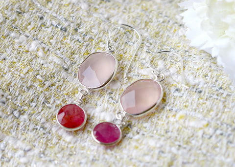Bridesmaids earrings,Ruby Earrings,Rose quartz Earrings,Gemstone Earrings,Agate Earrings,Mom jewelry,Silver earrings