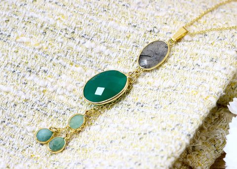 Boho Necklace,Onyx Necklace,Silver Rutilated Pendant,Bohemian Stone Necklace,Mom jewelry,Gold necklace,Bridesmaids gifts,Mothersday