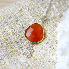 Carnelian Necklace,Personalized Necklace,Customize Initials Necklace,Gemstone Necklace,Silver Necklace,Agate necklace,Gemstone Necklace