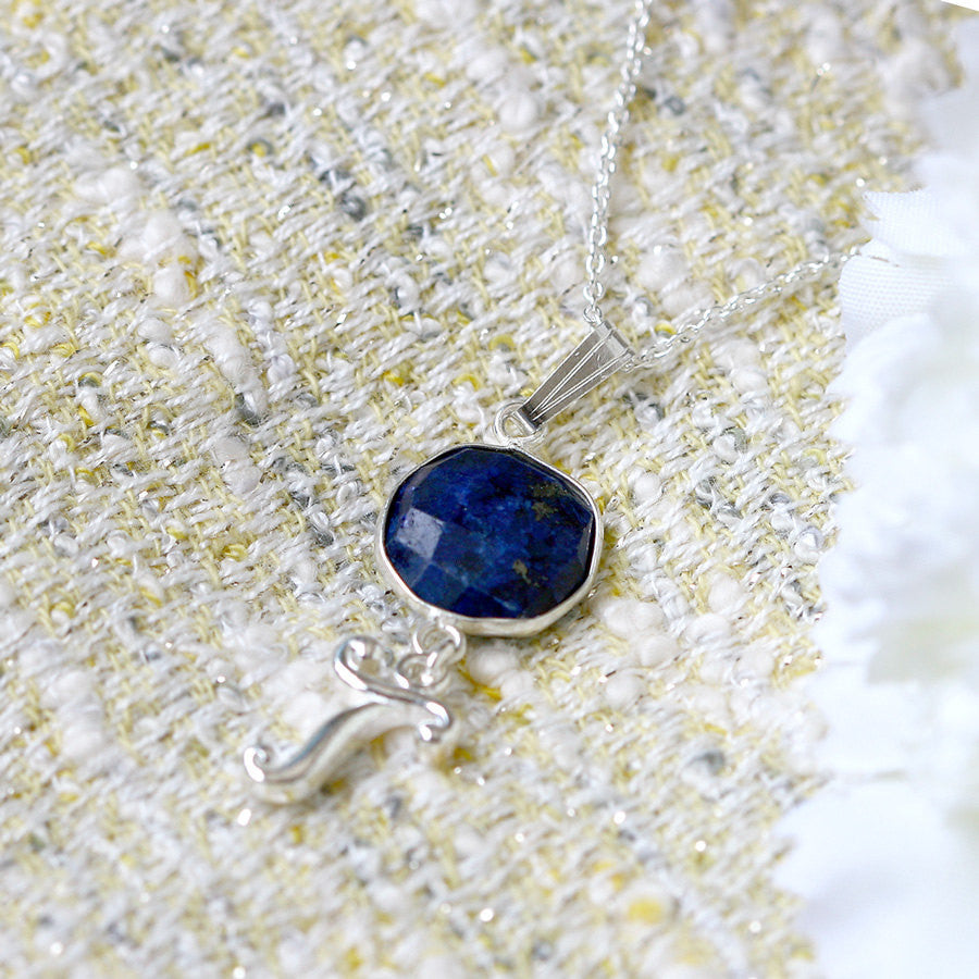 Personalized Necklace,Bridesmaids Gift,Lapis Lazuli Necklace,September birthstone,Stone Necklace,Mom jewelry,Initial Necklace,Name pendant