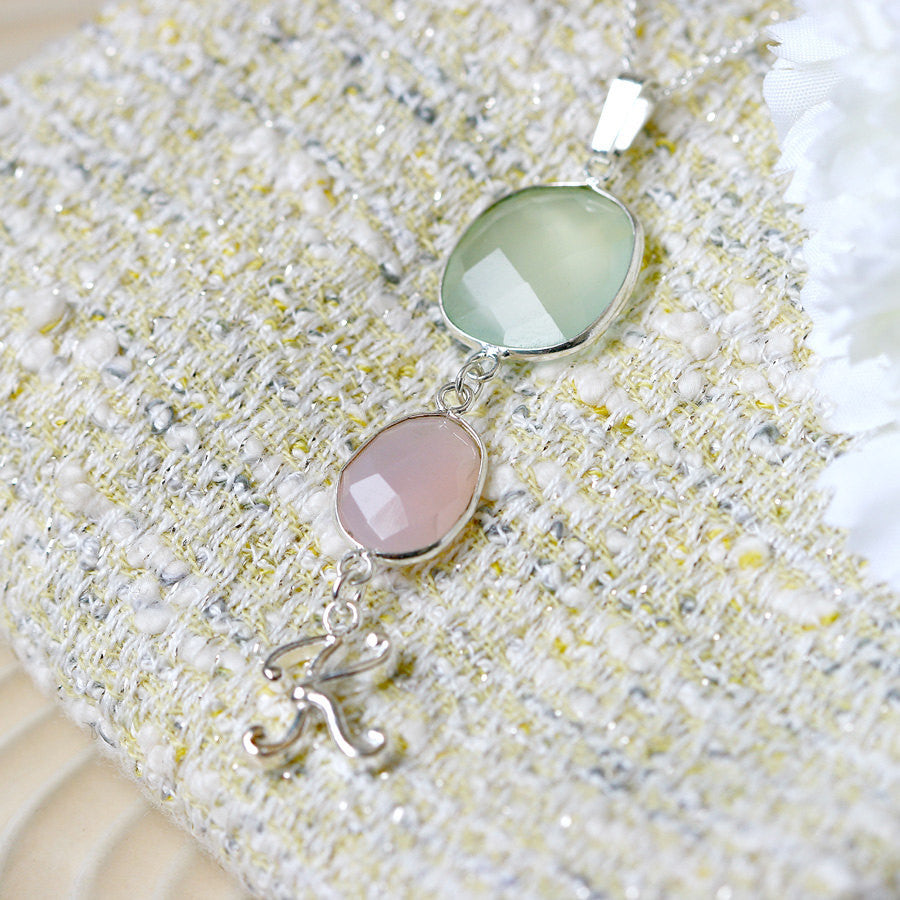 Rose quartz,Green Chalcedony Necklace,Personalized Necklace,Customize Initials Necklace,Gemstone Necklace,Silver Necklace,Agate necklace