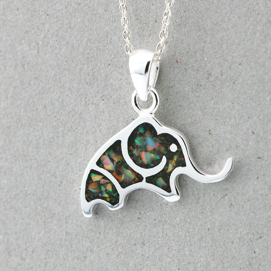 Elephant,Opal Necklace,Opal Pendant,Geode Necklace,Gemstone Necklace,Stone Necklace,Birthstone,October,Opal jewelry,Agate Necklace