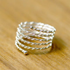 Silver Ring,Rope Spring Coil Ring,Stacking Ring,925 Sterling Silver,Handmade Ring