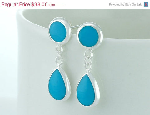 40% Off Turquoise earrings,silver earrings,teardrop earrings,Delicate earrings,silver,Thanksgiving,christmas,black friday,cyber monday,hallo