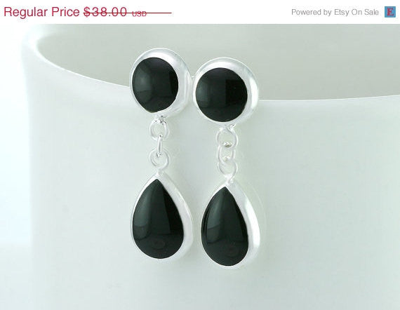 40% Off Onyx earrings,silver earrings,teardrop earrings,Delicate earrings,silver,Thanksgiving,christmas,black friday,cyber monday,halloween