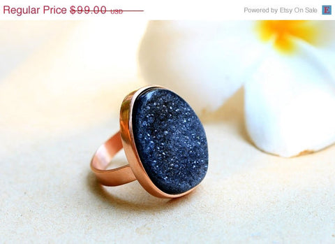40% Off Handmade Druzy ring,Geode ring,Quartz ring,Unique Ring,Stone ring,Adjustable Ring,Black Quartz,Rose gold,statement ring,